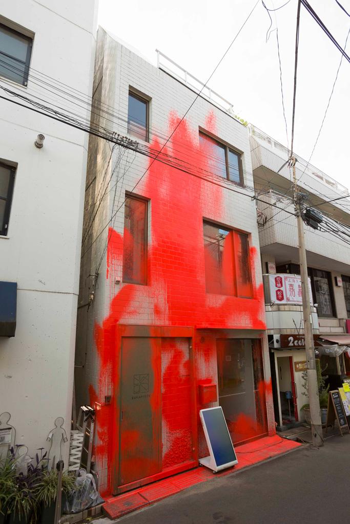 Houxo Que《Blood Resembling》/ acrylic on building / 2018 / photo : Kei Okano
