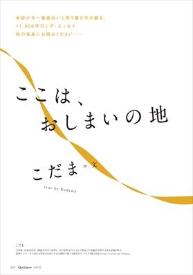 クイック・ジャパン122号紹介「こだま 書き下ろしロング・エッセイ」